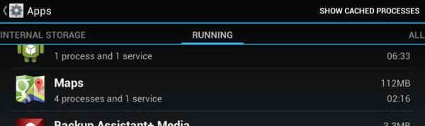 Android Maps running process