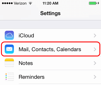 iOS Mail Contacts Calendar Settings