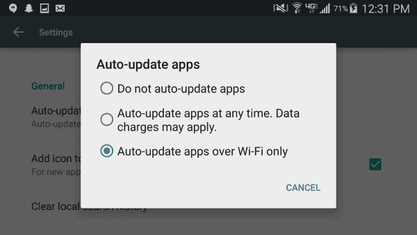 Google Play Auto Update Setting