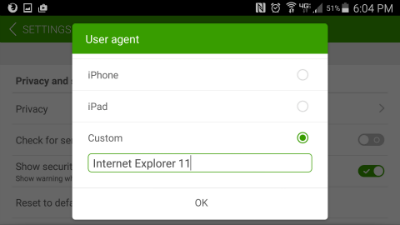 Dolphin browser UA Setting